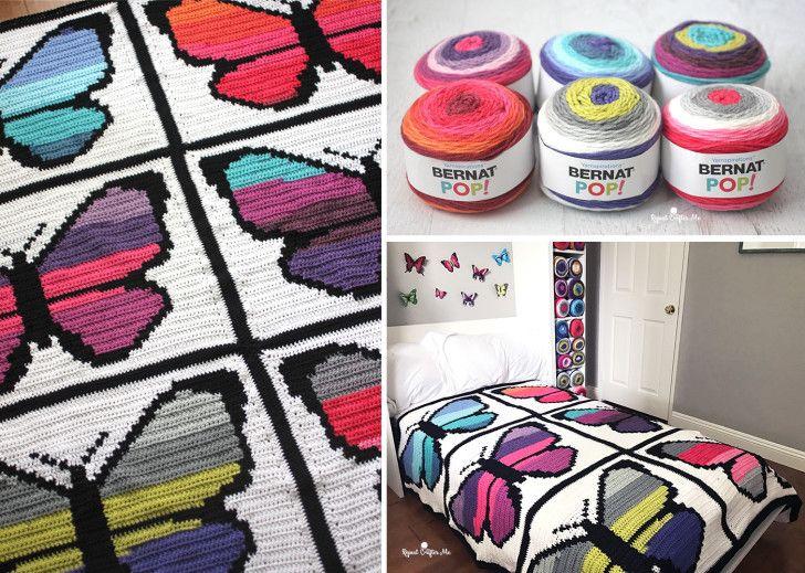 Bernat POP! Butterfly Crochet Graphgan - Part 2 | Crochet blankets ...