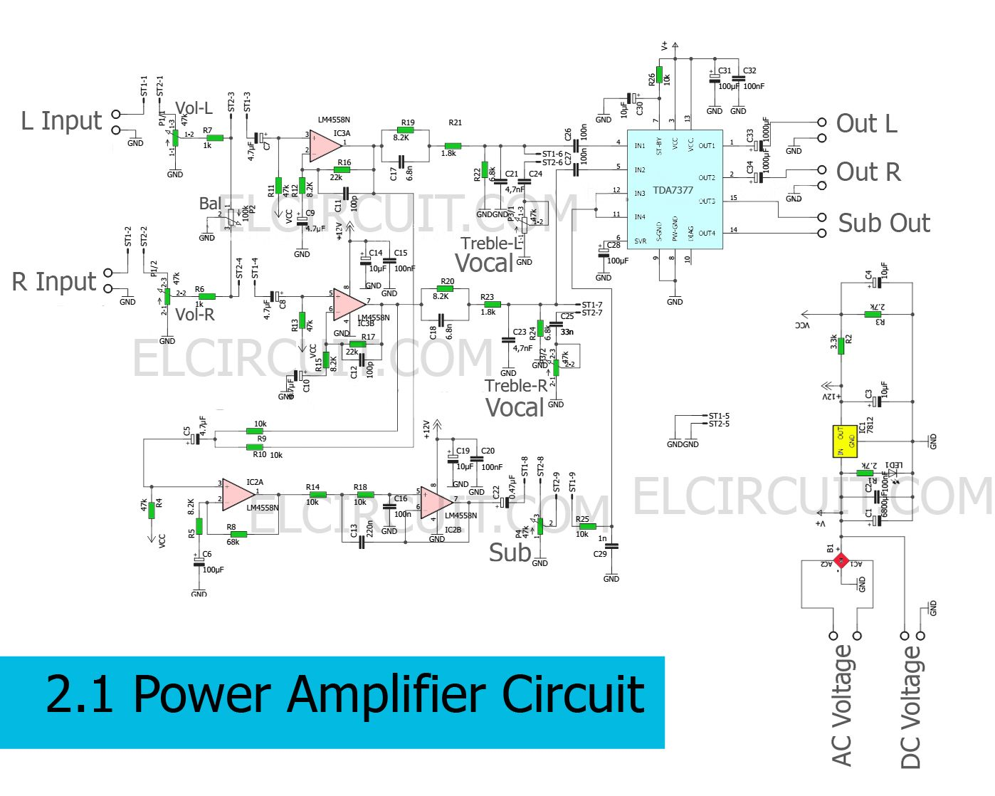 medium resolution of circuit schematic of 2 1 power amplifier using tda7377