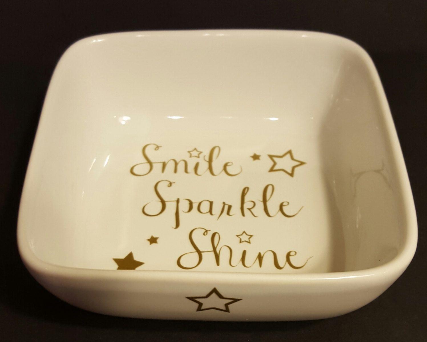 Smile Sparkle Shine porcelain ring dish    white porcelain with