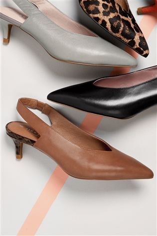 Buy Tan Leather Kitten Heel Slingbacks From The Next Uk Online Shop Zapatos De Vestir Zapatos Mujer Zapatos Formales