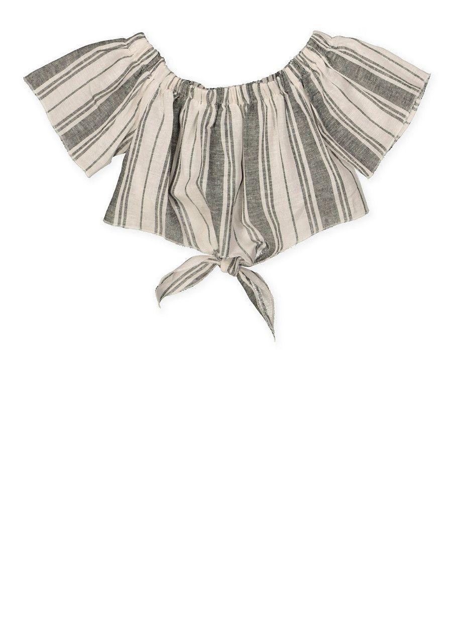 ef15e7742d4 Girls 7-16 Striped Off the Shoulder Linen Crop Top - Grey - Size 8 ...