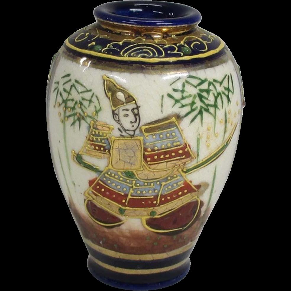 Japanese meiji antique kyo yaki satsuma pottery miniature japanese meiji antique kyo yaki satsuma pottery miniature vase of samurai reviewsmspy