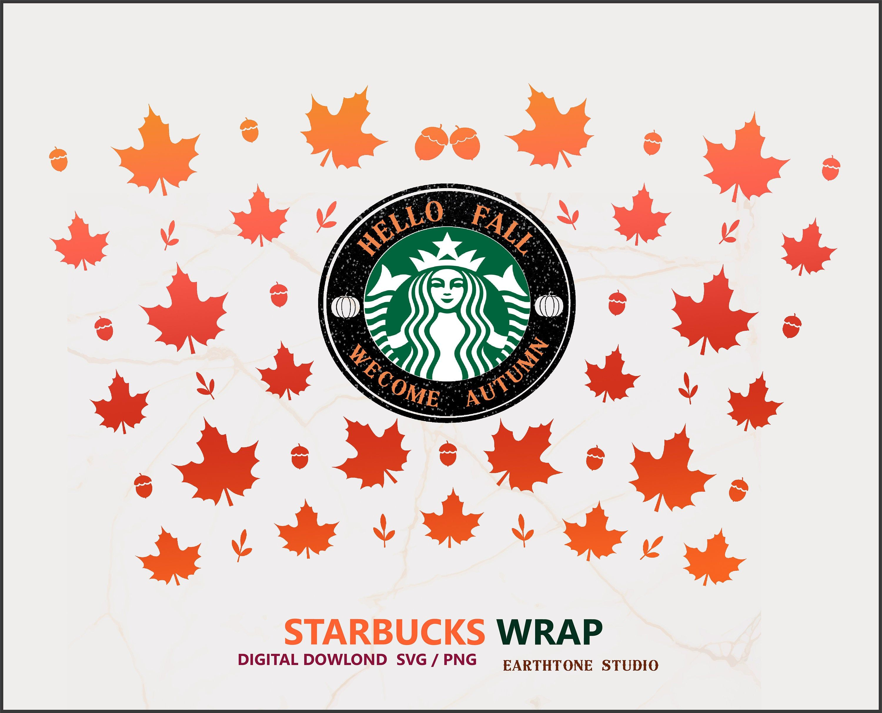 Fall Seamless Full Wrap Svg For Starbucks Venti Cold Cup 24 Oz Etsy In 2020 Starbucks Halloween Craft Images Starbucks Fall