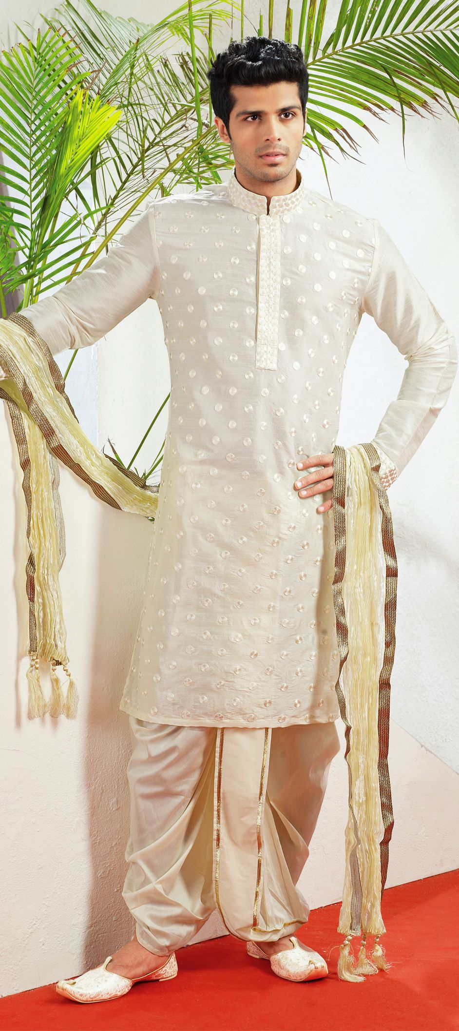 2fce680d35 Raw Dupion Silk Dhoti Kurta in White and Off White with Thread work ...