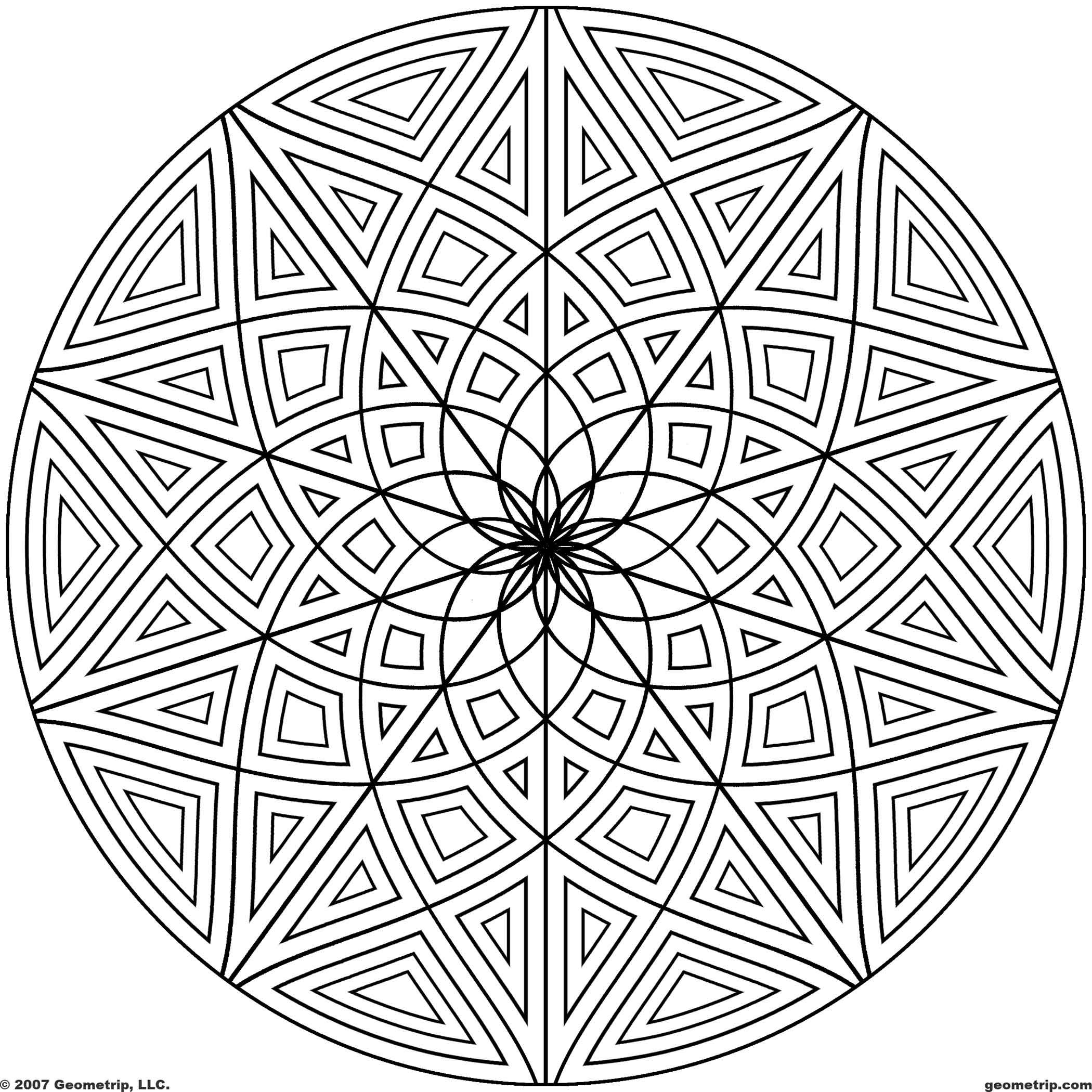 images of printable hard geometric coloring pages | Geometrip.com ...