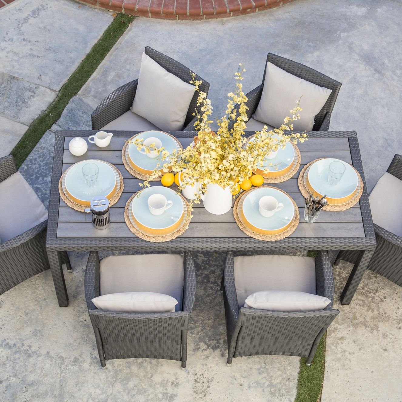 7-Piece Nathaniel Patio Dining Set in Grey | Joss & Main - Borowski 7 Piece Dining Set With Cushion Dining Sets, Grey And Patio