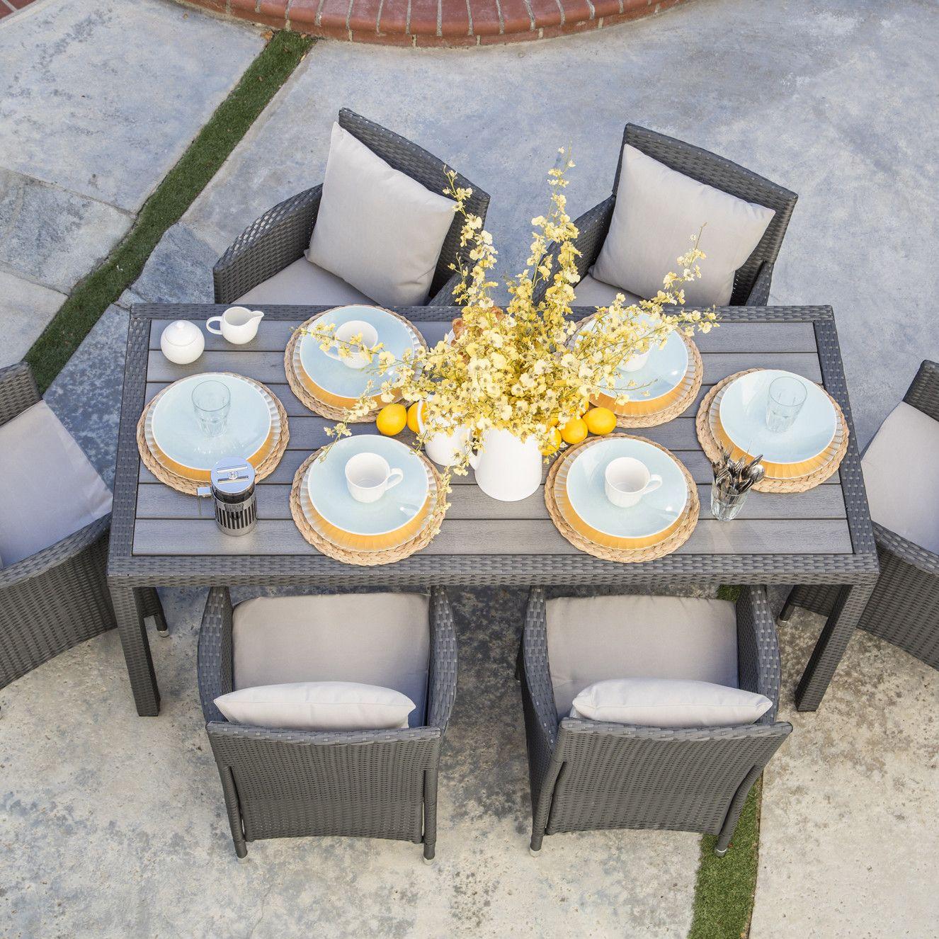 7 piece nathaniel patio dining set in grey joss main - Outdoor interiors 7 piece patio set ...