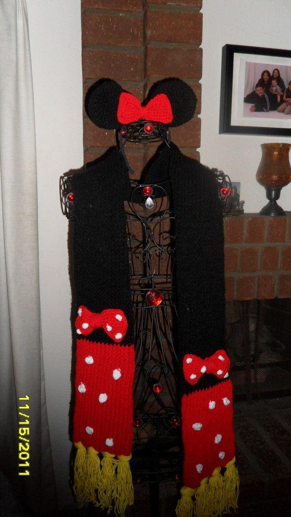 Crochet Minnie Mouse Scarf - Etsy $25.00 | varios | Pinterest