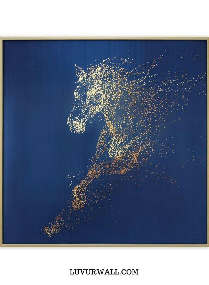 HORSE | Synthetic, Art Painting Mixed Media. Original Abstract Art / Elegant Organic Artwork / Framed Modern Art / Contemporary Decorating from luvurwall.com #AbstractArt #decorativeart #ContemporaryArt #luvurwall #MixedMedia #fiberart #mixedMediaArt hand