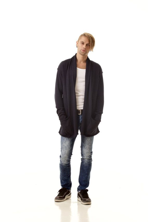 AXEL // Straight wrap open front mens cardigan shawl collar and pockets by Krista Elsta.