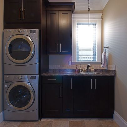 stack washer dryer for more counter top space or sink