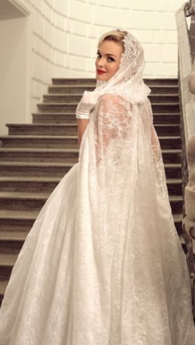 White Ivory Lace Long Hooded Cloaks Mantle Wedding Dress ...
