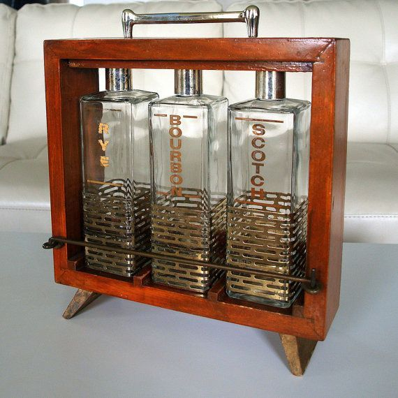 1950s MID CENTURY BARWARE Awesome Mad Men Style Whiskey Glass Antique  Bottle Set Swank Gold Decanter