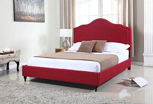 Home Life Cloth Burgundy Red Linen 51″ Tall Headboard Platform Bed ...