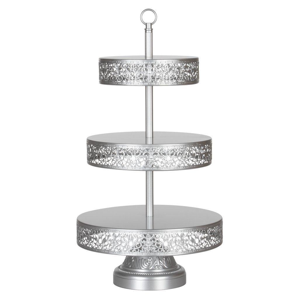 3 Tier Vintage Reversible Dessert Cupcake Stand Silver Tiered