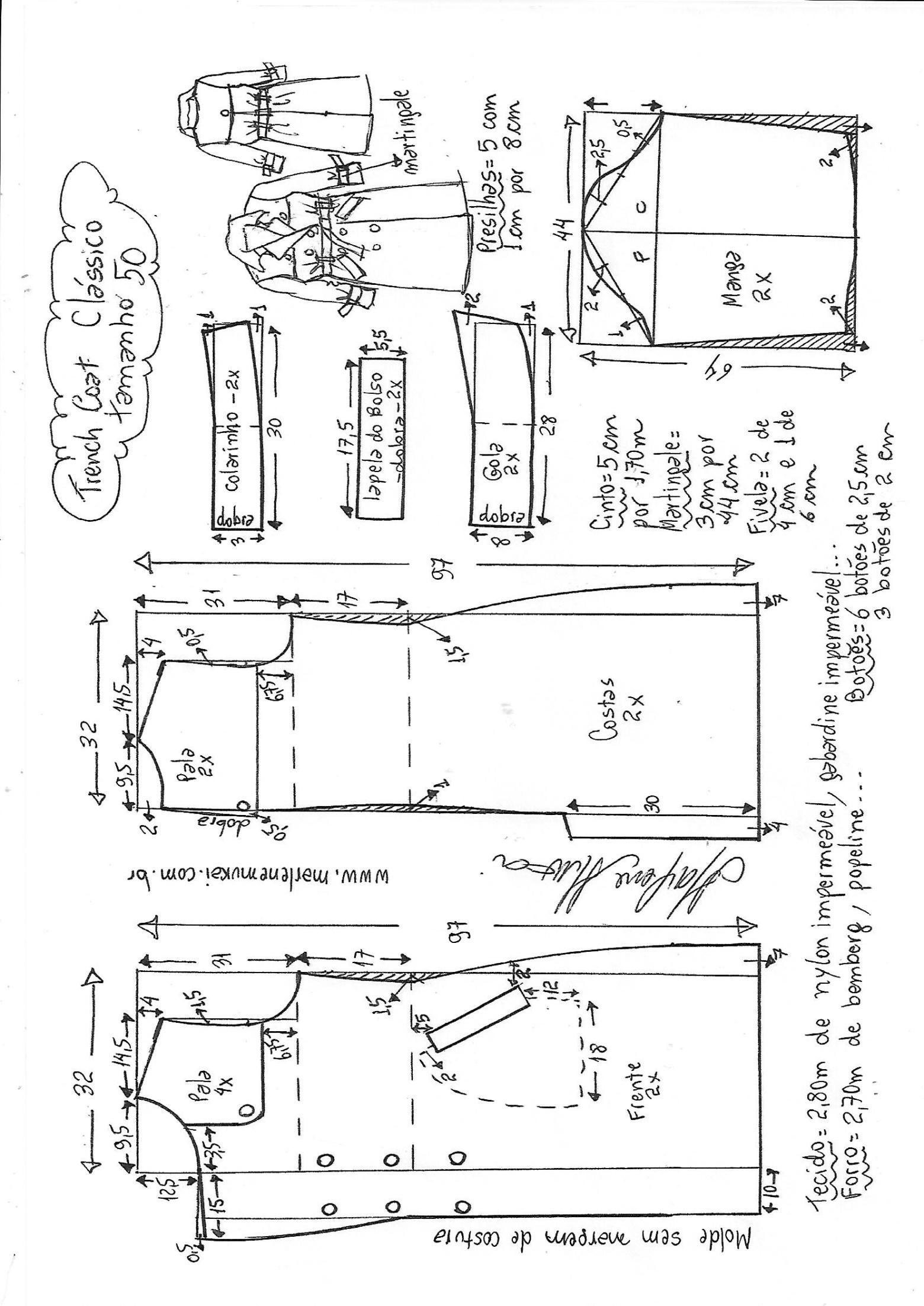 Casaco trench coat clássico | DIY - molde, corte e costura - Marlene ...