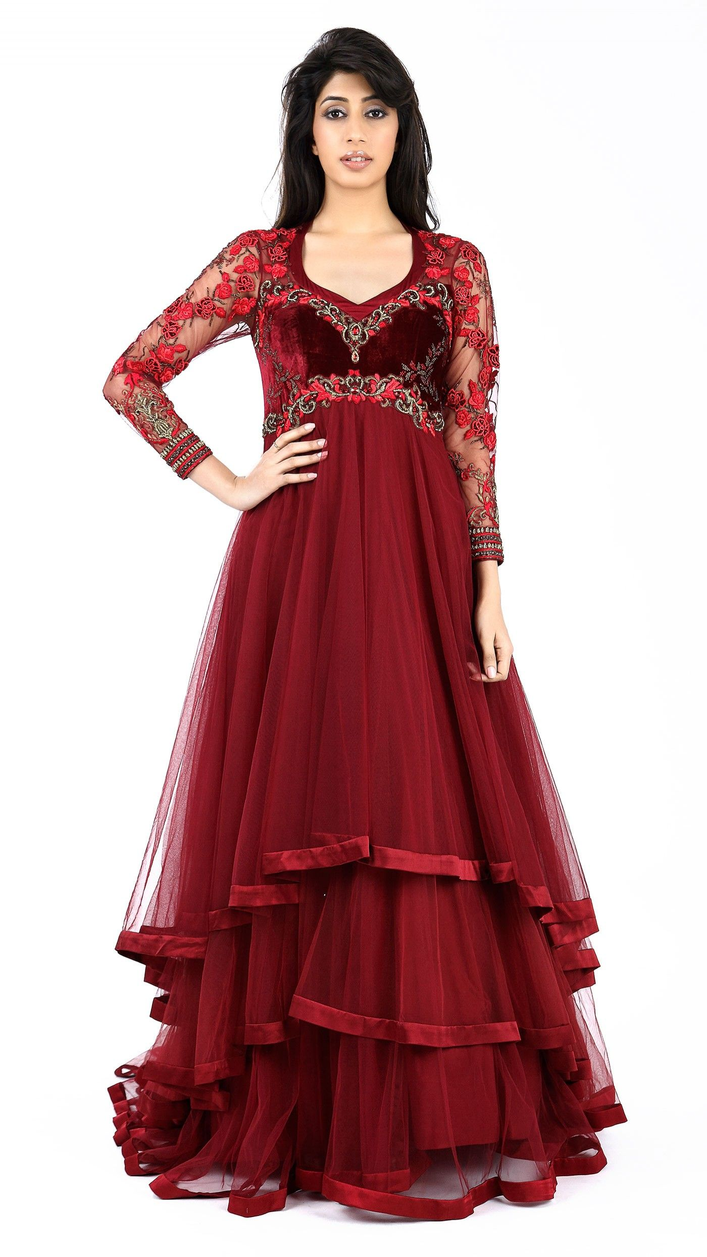 Maroon Net Gown With Images Indian Wedding Outfits Bridal