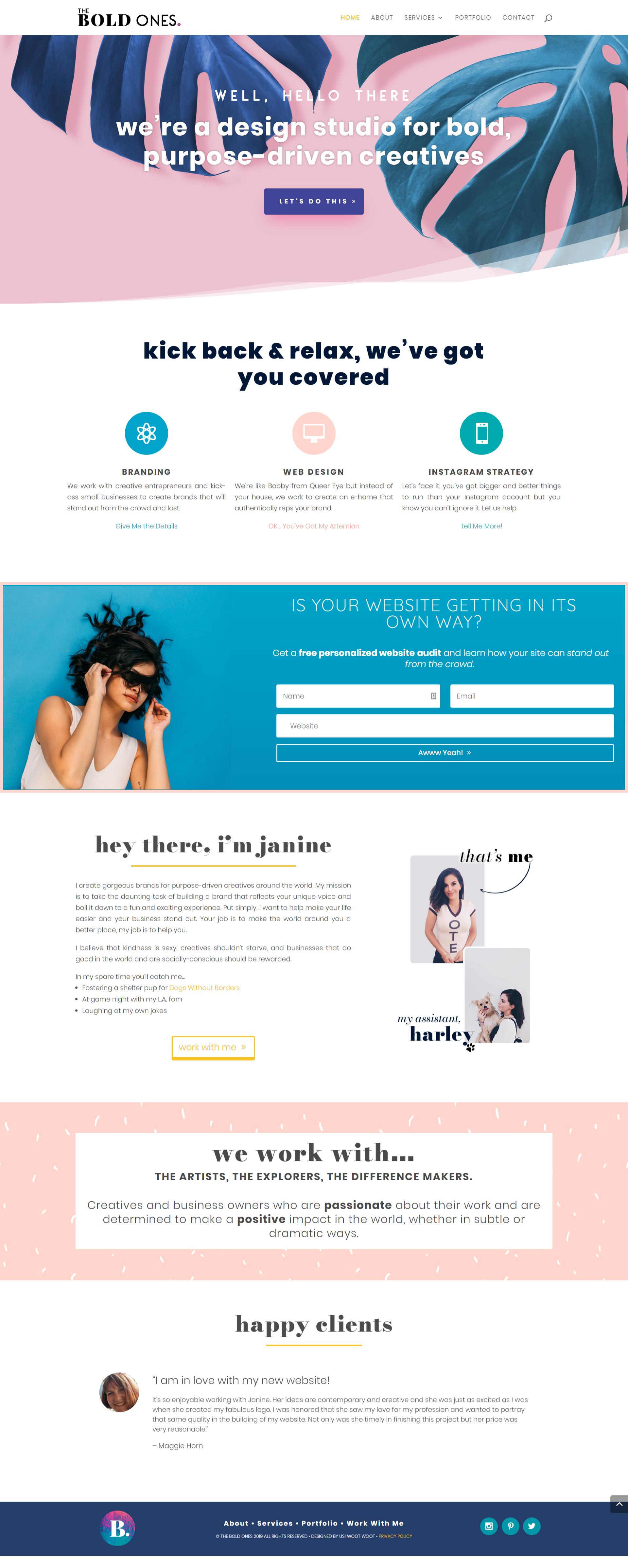 The Bold Ones Branding And Web Design Studio Homepage Layout Design For Wordpress Webdesign Studi In 2020 Homepage Layout Design Homepage Design Web Design Studio