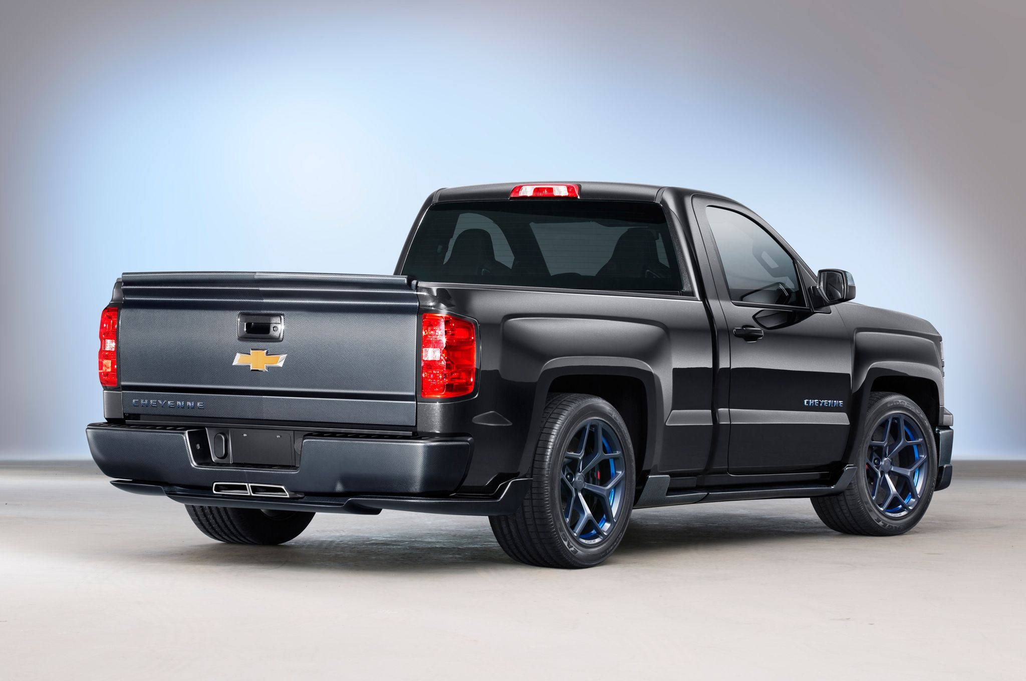 This regular cab 2014 chevrolet silverado cheyenne concept truck has an ecotec and camaro parts it has been revealed at the sema 2013 show