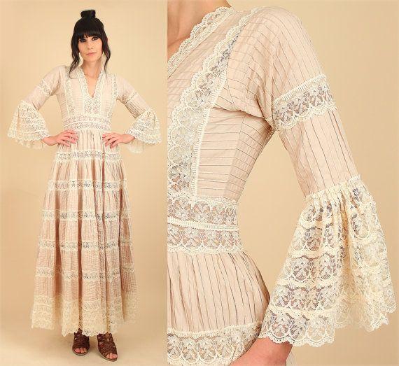 Stunning ViNtAgE us Mexican Wedding Dress Cotton PinTuck Crochet Lace Angel Wing Bell u