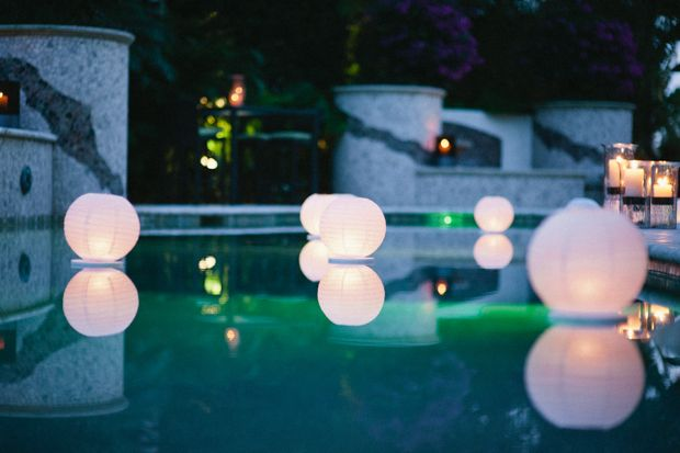 Pool Party Lighting Ideas renita and alexs friend and planner katrina teeple turned their friends backyard into an elegant reception Paper Lanterns In Pool Paper Lanterns Are Hot In Event Decorating Right Now And You