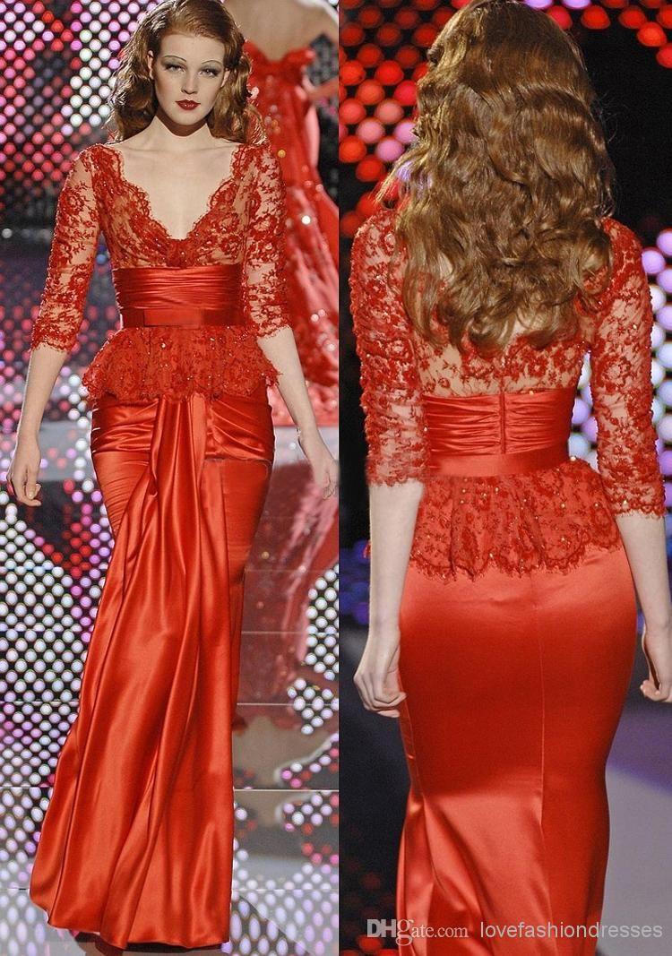 Magnifique Design Zuhair Murad Robes Du Soir En Dentelle Rouge A Manches Moitie Robe De Soiree Id D Evening Dresses Mermaid Evening Dresses Evening Party Dress