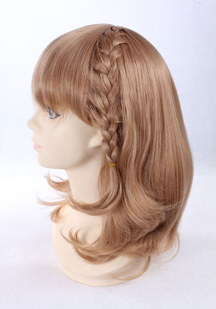 High Quality Thick Short Wavy Brown Flaxen Blonde Synthetic Hair Wigs Anime  Braid Updo Heroine Amnesia · Costume ...