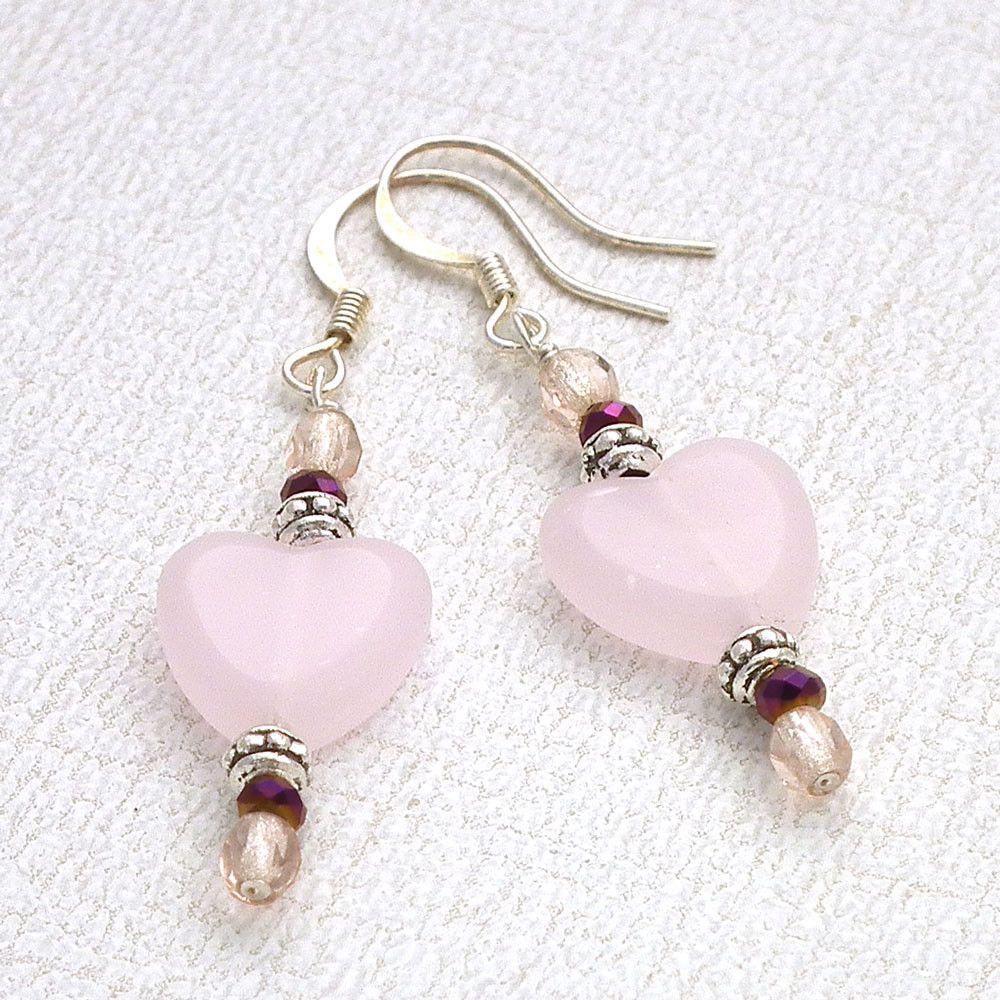 Pink Heart Beaded Earrings