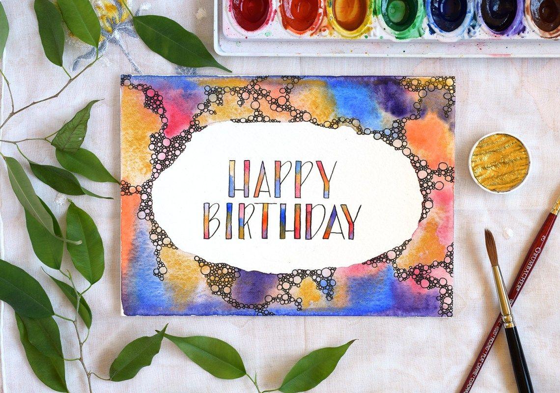 Abstract Bubbles Watercolor Birthday Card Tutorial Watercolor