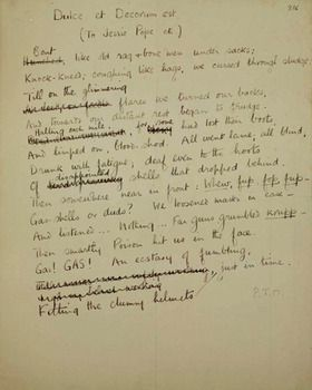 a draft of wilfred owen s visceral description of gas warfare  a draft of wilfred owen s visceral description of gas warfare dulce decorum est 1917