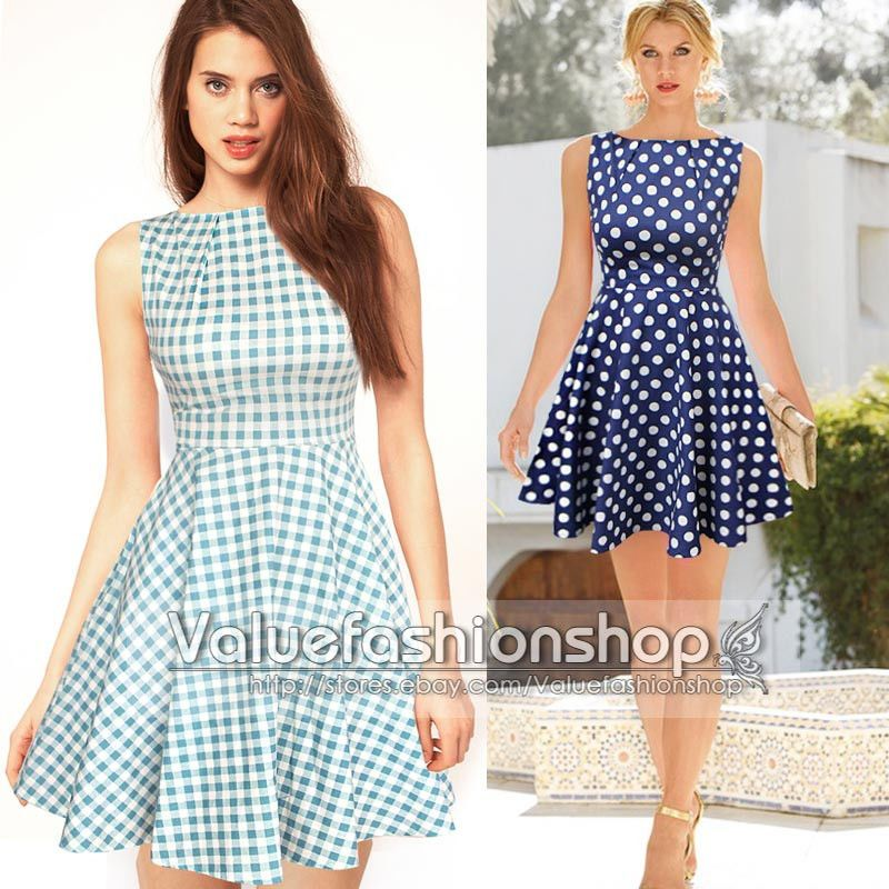 Womens Vintage Polka Dot Boat Neck Cocktail Party Flare Skater Pleated Dress 675