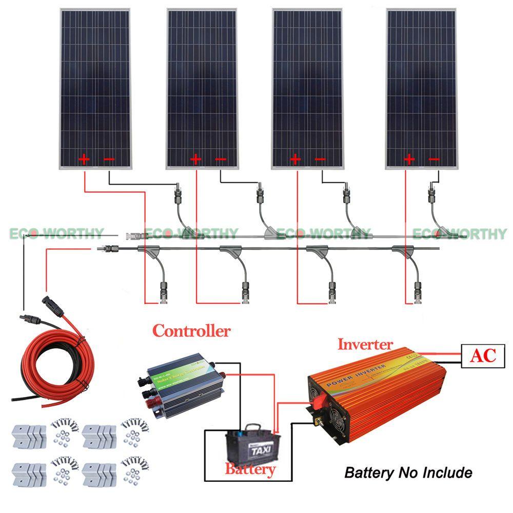 4x160w 600w 12v Off Grid Solar System W 220v Inverter For Household Boat Rv Off Grid Solar Solar System Kit Off Grid System