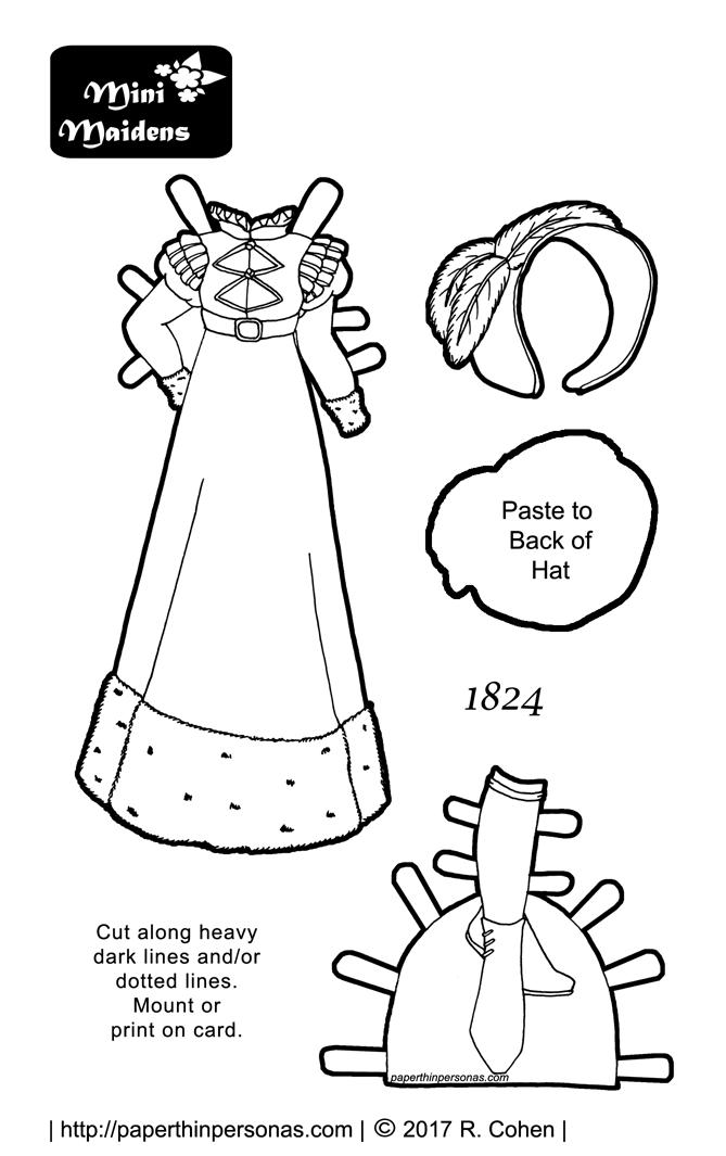 A Printable Paper Doll Coloring Page Of An 1820s Dress Ideas For
