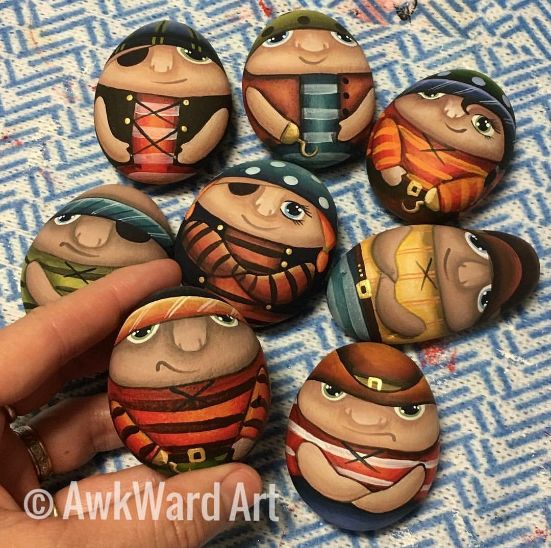 Pirates Painted Stones Rocks By Awkward Art Painted Rocks