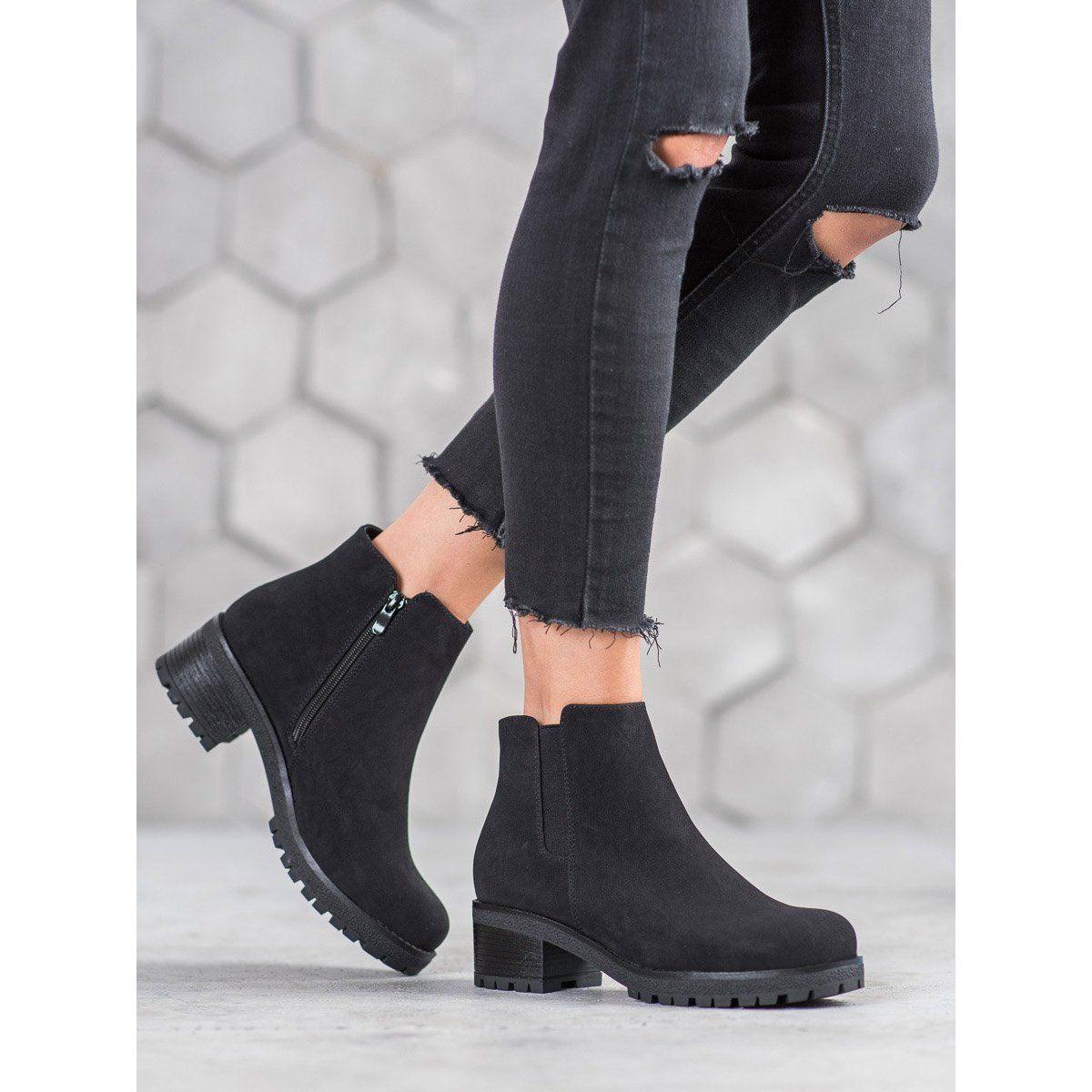 J Star Zamszowe Botki Na Platformie Czarne Elegant Boots Comfortable Womens Boots Black Suede Boots