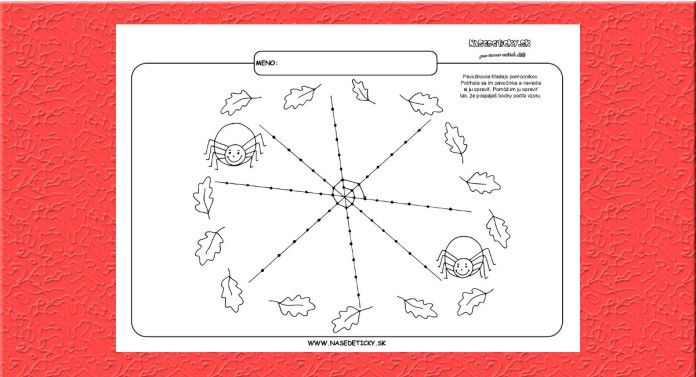 Grafomotorika. Kreslíme pavučinu. - Aktivity pre deti, pracovné listy, online testy a iné