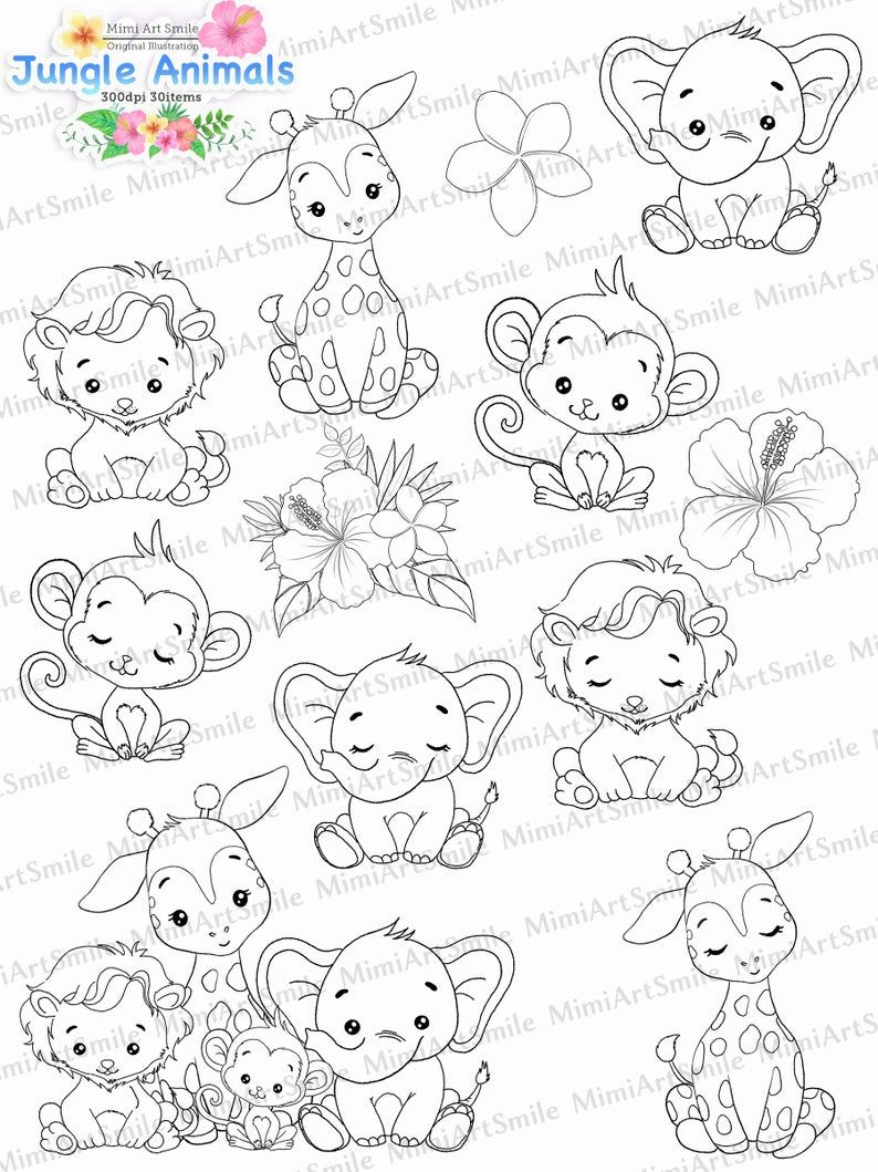 Jungle Animals Digital Stamp Animal Clipart Coloring Etsy In 2021 Digital Stamps Giraffe Coloring Pages Animal Clipart