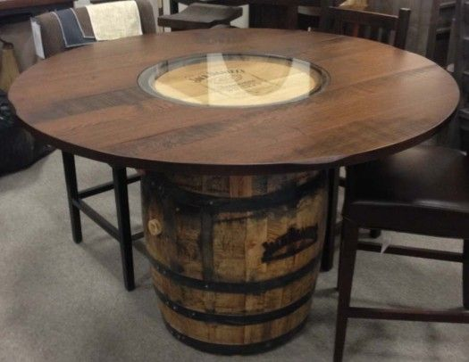 Jack daniels whiskey barrel dining table oaksmith for Table jack daniels