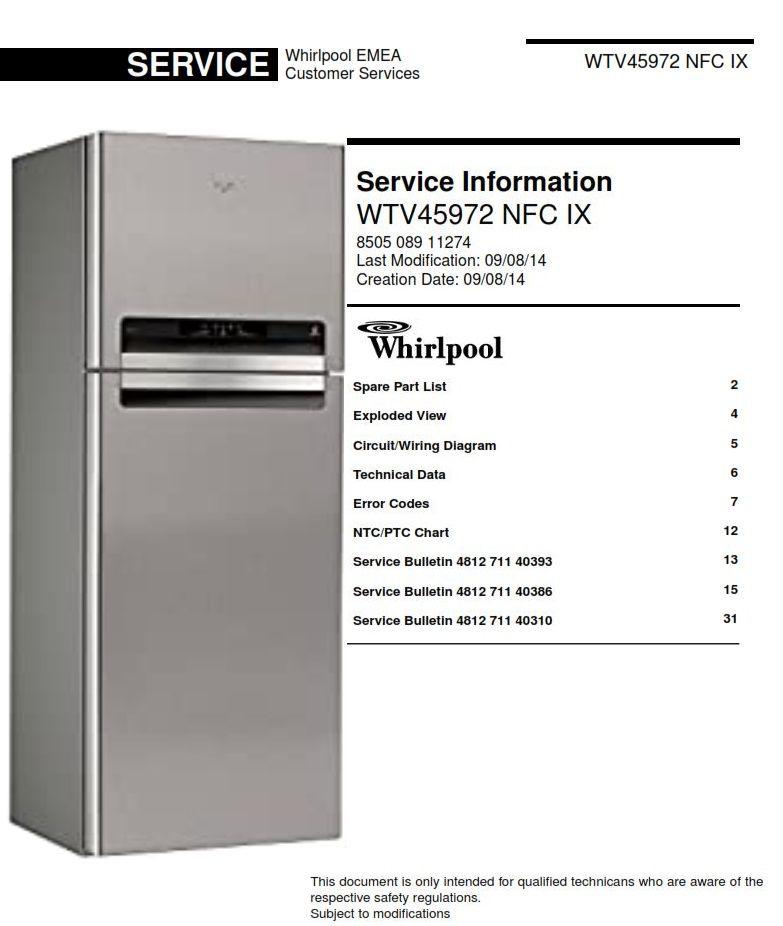 whirlpool wtv45972 nfc ix refrigerator service information