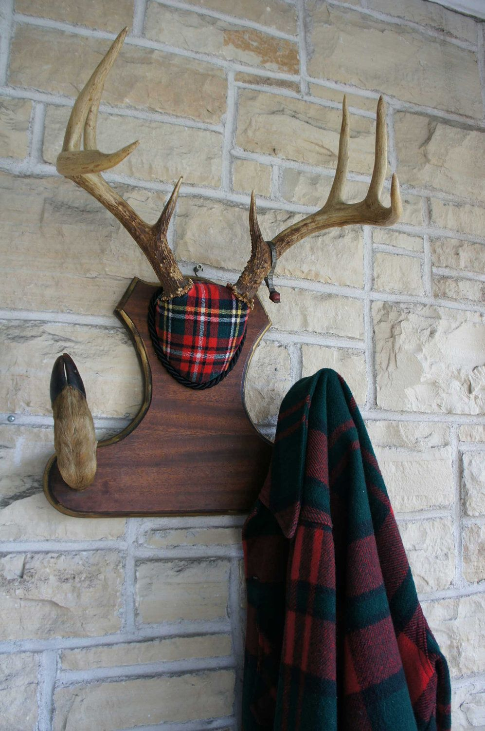 vintage deer antler mount coat hat hook plaid woodland decor unique taxidermy 1951