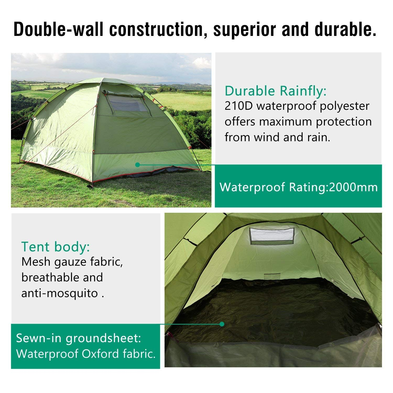 Moko Waterproof Family Camping Tent Portable 3 Person