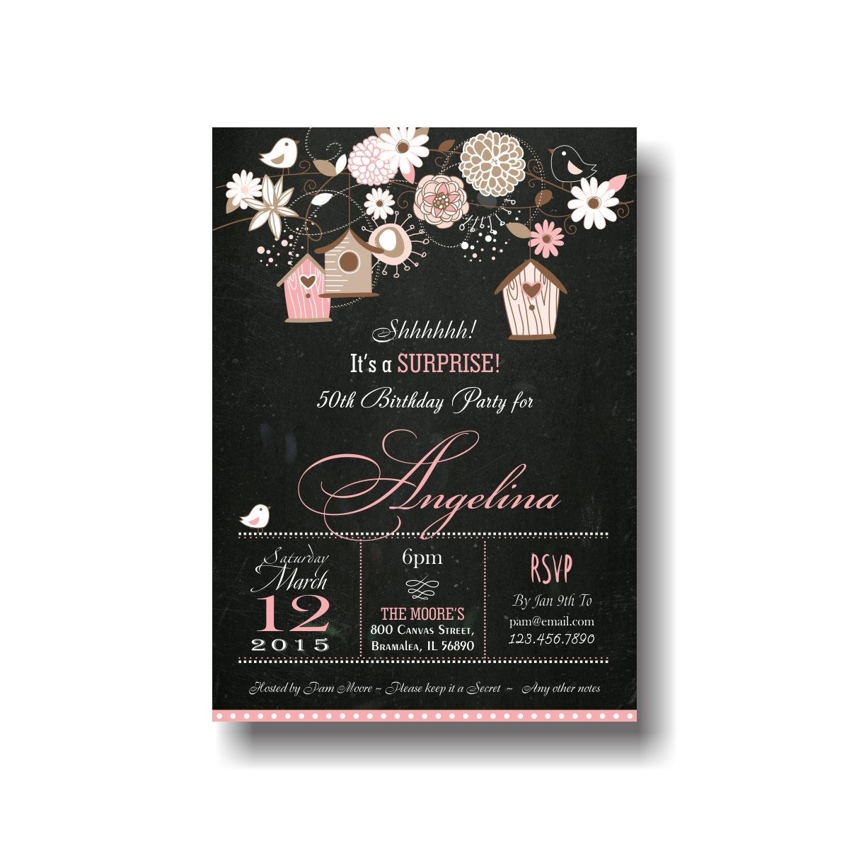 bird house birthday invitation backyard summer pink any ages