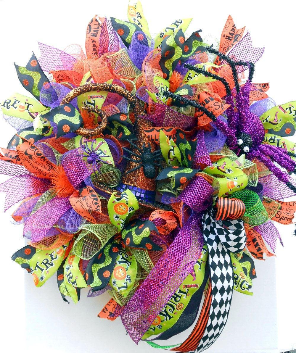 Halloween Deco Mesh Wreath Halloween Wreath Witch Hat Wreath