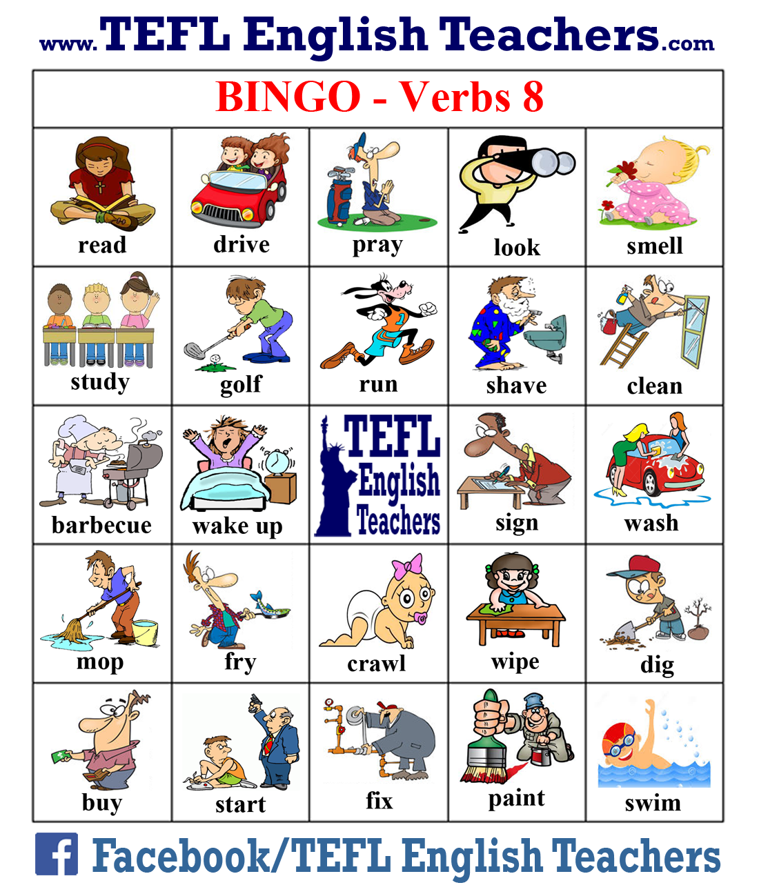 Tefl English Teachers Bingo Verbs Game Board 8 Of 20 Juegos En Ingles Vocabulario En Ingles Loteria En Ingles