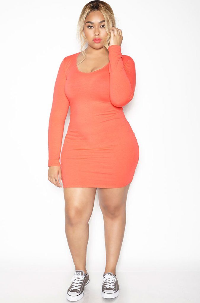 Essential Long Sleeve Scoop Neck Bodycon Mini Dress - Coral - FINAL ... 452ad4894