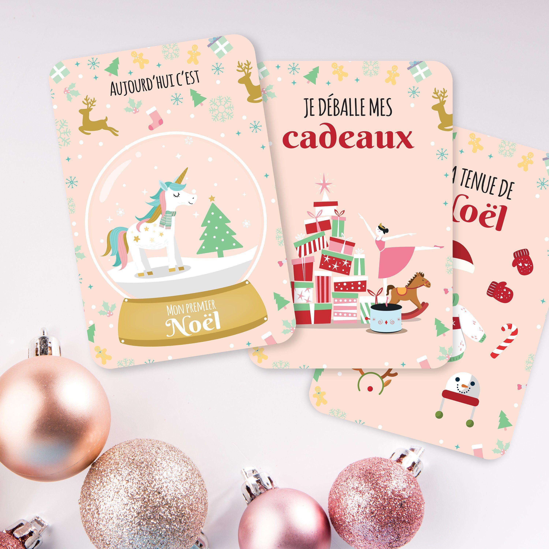 etsy : Cadeau Noël bébé   Carte voeux Noël   Carte étape bébé