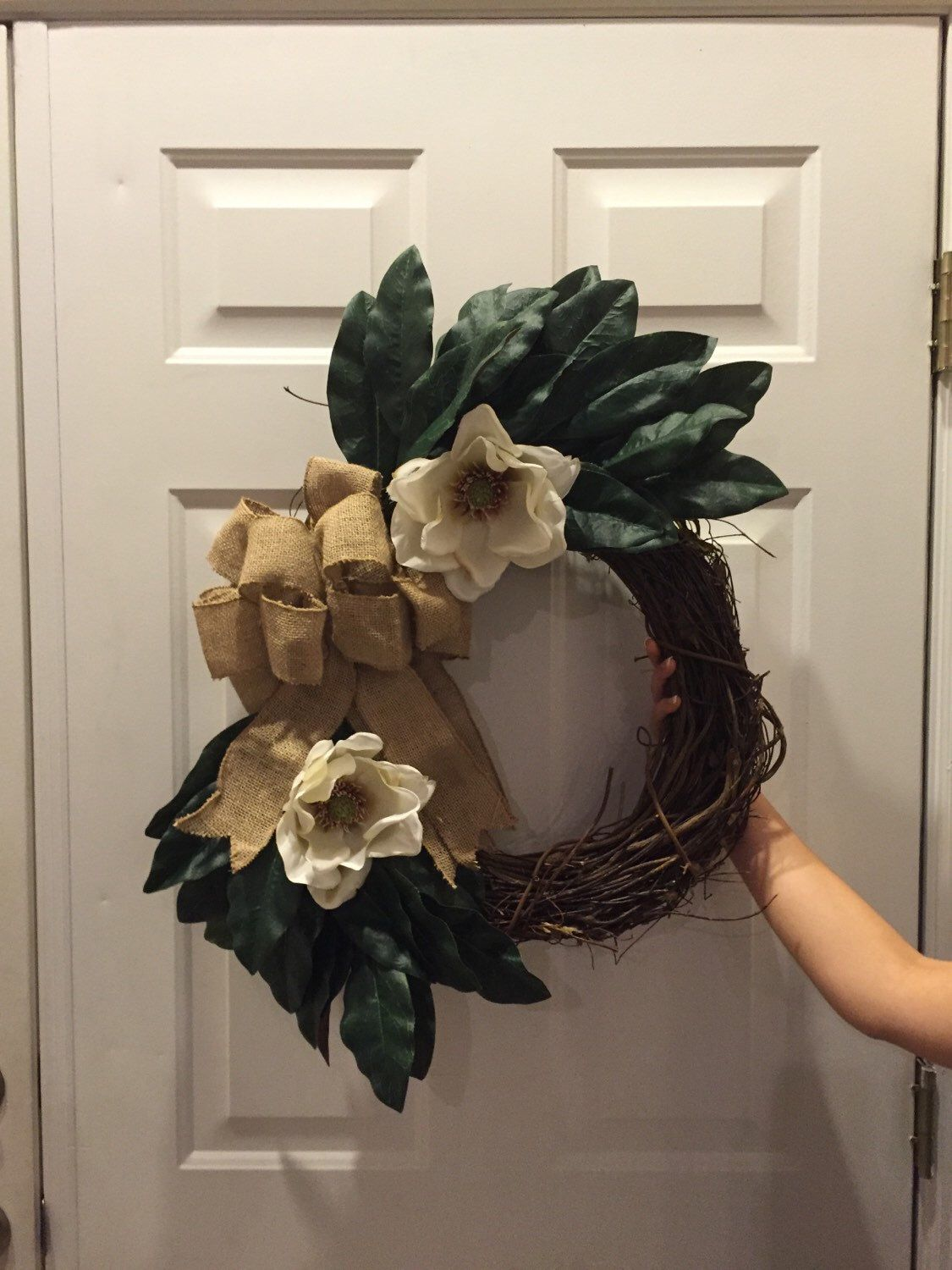 A personal favorite from my Etsy shop https://www.etsy.com/listing/290267375/magnolia-wreath-magnolia-leaves