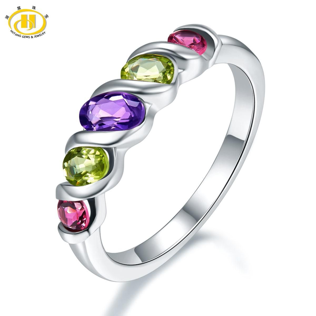 18632d4f3 Hutang Natural Multi-color Gemstone Ring Solid 925 Sterling Silver Rings  Amethyst Peridot Rhodolite Fine Jewelry For Women Gift.