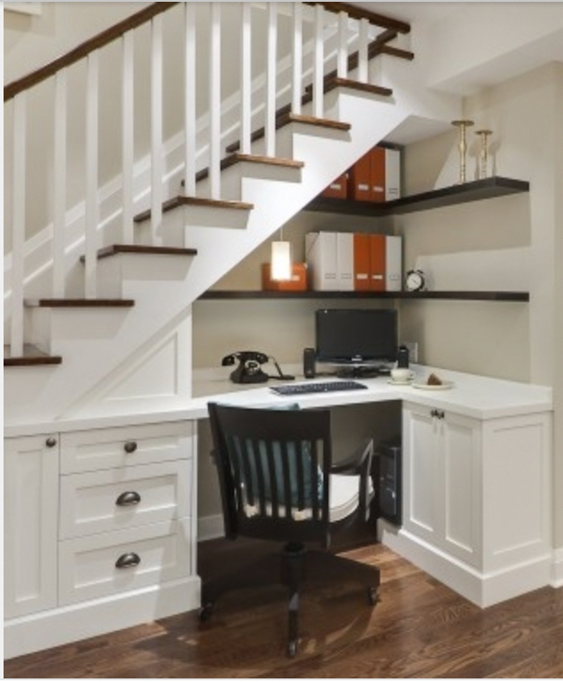 Stylish Understairs Study: 30 Under Stair Shelves And Storage Space Ideas #diy