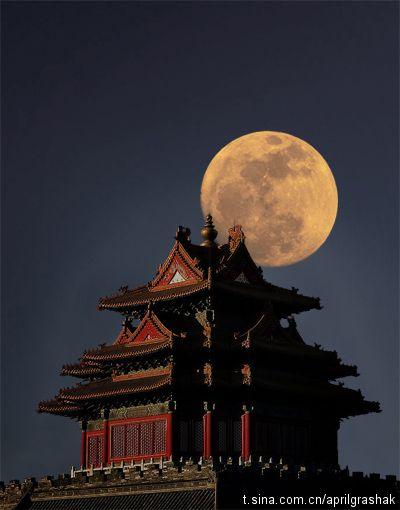 Forbidden city under the moon